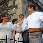 """Sigh no more, my lady: Kerry Skram is Beatrice and Katy Merriman is Hero in Repetory Theater of Iowa's revival of """"Much Ado About Nothing"""" on the Salisbury House lawn."""