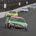 Danica Patrick heads into the first turn during the Brickyard 400 on Sunday at Indianapolis Motor Speedway.