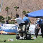 Golfers compete in a long drive competition at the Mesquite Sports and Event Complex.