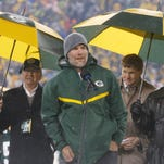 Brett Favre during a ceremony at halftime of the Green Bay Packers' game against the Chicago Bears Thursday night in Green Bay, Wisconsin.