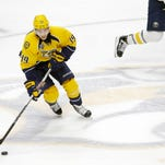 Predators forward Calle Jarnkrok has filled in at second-line center since forward Mike Fisher sustained a lower-body injury.