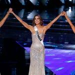 Miss Oklahoma Olivia Jordan celebrates after winning the 2015 Miss USA pageant.