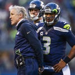 Seattle Seahawks coach Pete Carroll and QB Russell Wilson.