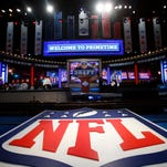 A general view of the NFL shield logo and main stage before the 2013 NFL Draft at Radio City Music Hall.