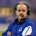 Indianapolis Colts coach Chuck Pagano on the sidelines against the Tennessee Titans at Lucas Oil Stadium.