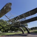 A replica of the Wright Flyer sits on display at Maxwell Air Force Base in Montgomery, Ala., in this file photo.