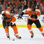 Jake Voracek, left, has 23 points in 17 games since moving to the left wing.