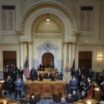 Gov. Chris Christie delivers his budget address at the State House on Tuesday.