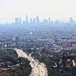 Overview shot of Downtown LA through the smog from Hollywood.