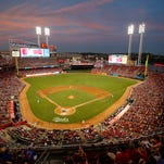A view of Great American Ball Park as the sun sets during Monday's game between the Cubs and the Reds.