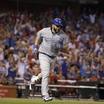 Kansas City Royals' Kendrys Morales rounds the bases after hitting a solo home run during the eighth inning Thursday in St. Louis.
