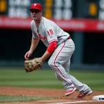 Philadelphia Phillies first baseman Tommy Joseph prepares to make a play in the first inning of a baseball game July 10 in Denver.