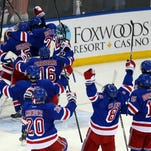 The Rangers celebrate on Thursday night after defeating the Canadiens in Game 6 to advance to the Stanley Cup final.