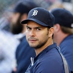 Detroit Tigers relief pitcher Anibal Sanchez is seen in the dugout before the first inning of an interleague baseball game against the Pittsburgh Pirates, Wednesday, Aug. 13, 2014 in Detroit. (AP Photo/Carlos Osorio)