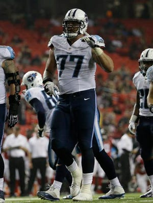 Titans rookie tackle Taylor Lewan during the second half against the Falcons.