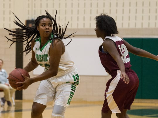 Parkside's Jacqueline Wright (32) moves the ball into the offensive zone during a game against Snow Hill on Tuesday, Jan. 16, 2018.