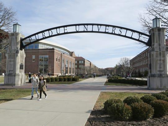 Purdue University gate at the corner of Stadium Avenue