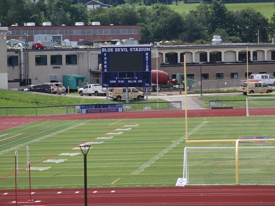 This video board, along with lights, are among the