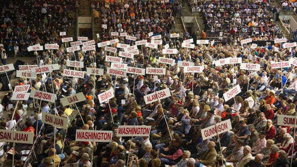 Supporters of Ted Cruz attend the Republican convention