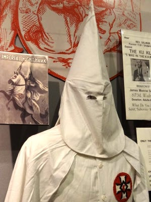 Display of Ku Klux Klan effects at the National Civil Rights Museum in Memphis.