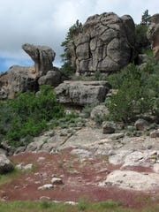 Rock formations on the Pine Canyon Trail are interesting
