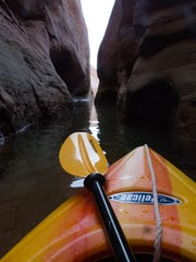 The view from my kayak taken inside a little slot canyon