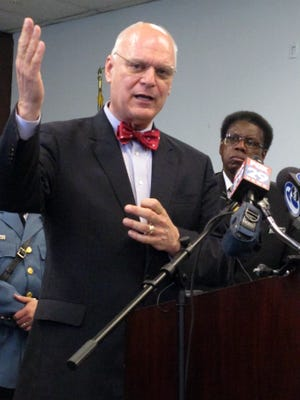 Atlantic City Mayor Don Guardian speaks at a news conference  on Thursday in Atlantic City. Guardian outlined plans to temporarily halt essential services starting April 8 when the city expects to run out of money. City and state officials continued to trade blame about who is responsible for Atlantic City's financial situation, and what to do next.
