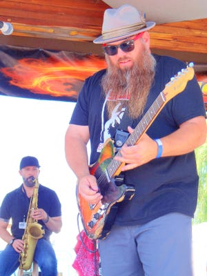 Harliss Sweetwater entertains the Blues Fest crowd at Gough Park in Silver City.