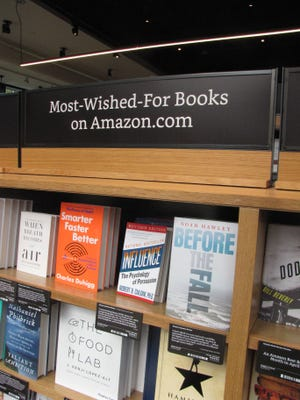 A shelf at Amazon's Seattle bookstore, in University Village.