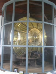 This 9-foot high bivalve Fresnel lens is on display in the separate generator room at Twin Lights. The beam could be seen from 22 miles at sea.