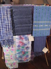 Handwoven items were for sale during the annual Fiber Arts Celebration at the Salomon Farm park in Fort Wayne, IN.