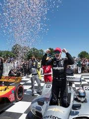 Josef Newgarden celebrates his 2018 IndyCar victory at Road America in Elkhart Lake.