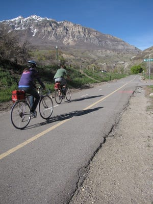 Cyclists ride the Provo River Parkway Trail, a paved 15-mile route stretching from Provo Canyon west to Utah Lake.
