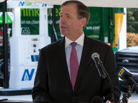 Laurence Downes, CEO of NJ Natural Gas, speaks at the
