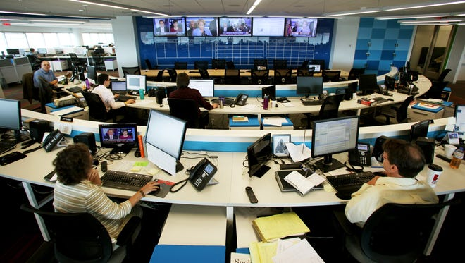 """The Register newsroom's """"Mission Control."""""""
