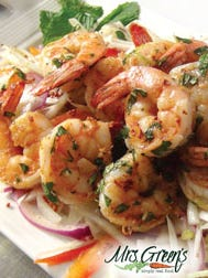 Spicy grilled shrimp over shaved fennel slaw. The slaw can also be used as a crunchy side to roasted poultry or pork.