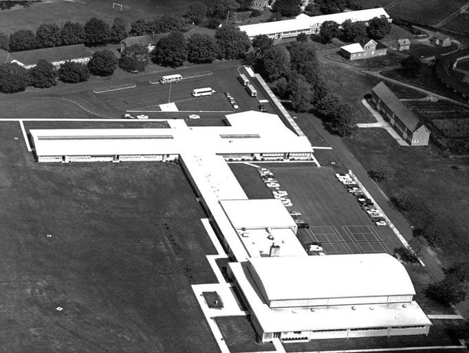 Aerial view of main building at Christian Brothers Academy on Novemember 4, 1963.
