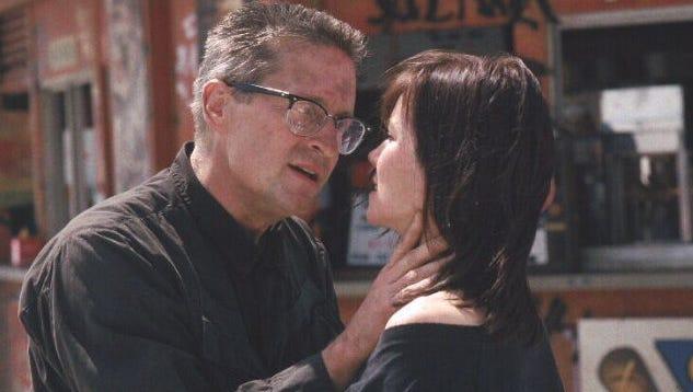 "Michael Douglas and Barbara Hershey in ""Falling Down."""