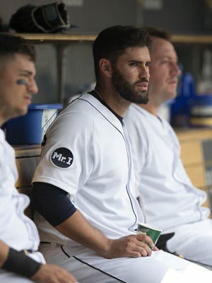 Tigers rightfielder JD Martinez watches during the Tigers' 6-5 win Thursday at Comerica Park.
