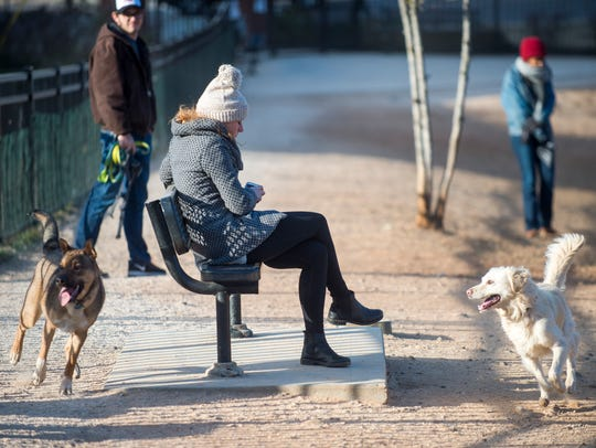 Bundled-up dog owners watch as dogs play at the PetSafe