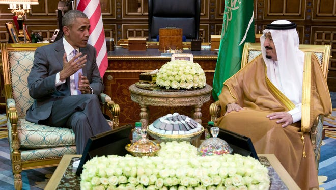 President Barack Obama and Saudi Arabia's King Salman meet at Erga Palace in Riyadh, Saudi Arabia, Wednesday, April 20, 2016. The president begins a six day trip to strategize with his counterparts in Saudi Arabia, England and Germany on a broad range of issues with efforts to rein in the Islamic State group being the common denominator in all three stops.