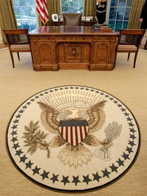 ORG XMIT: WX112 In this Aug. 31, 2010, photo, renovations to the Oval Office, including a new carpet, drapes, wallpaper and furniture, are seen at the White House in Washington. The famous Resolute Desk remains. (AP Photo/J. Scott Applewhite)
