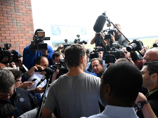 Giants quarterback Eli Manning faces the media and addresses the allegations he was involved in a memorabilia scam during a press conference at the training center in East Rutherford on Wednesday, April 20, 2017.