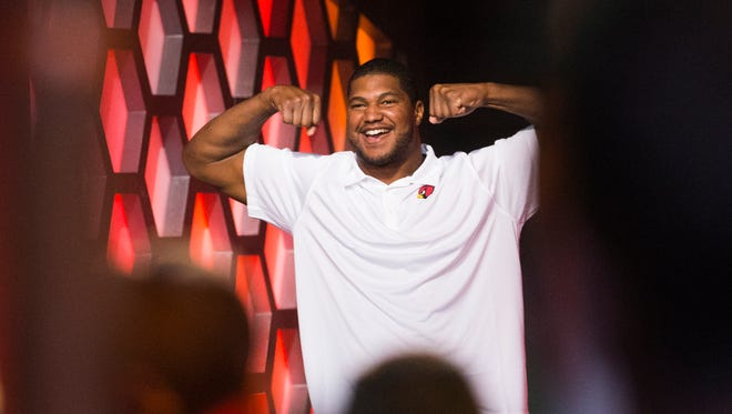 Cardinals DE Calais Campbell is introduced after being selected on Team Carter during the Pro Bowl Draft at the Biltmore Resort in Phoenix January 21, 2015. Team Carter will play Team Irvin in the 2015 Pro Bowl Sunday in Glendale, Ariz.
