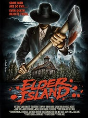 "A movie poster for ""Elder Island,"" a horror movie shot"