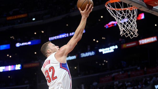 The Los Angeles Clippers' Blake Griffin scores a basket against the Utah Jazz in Game 2.
