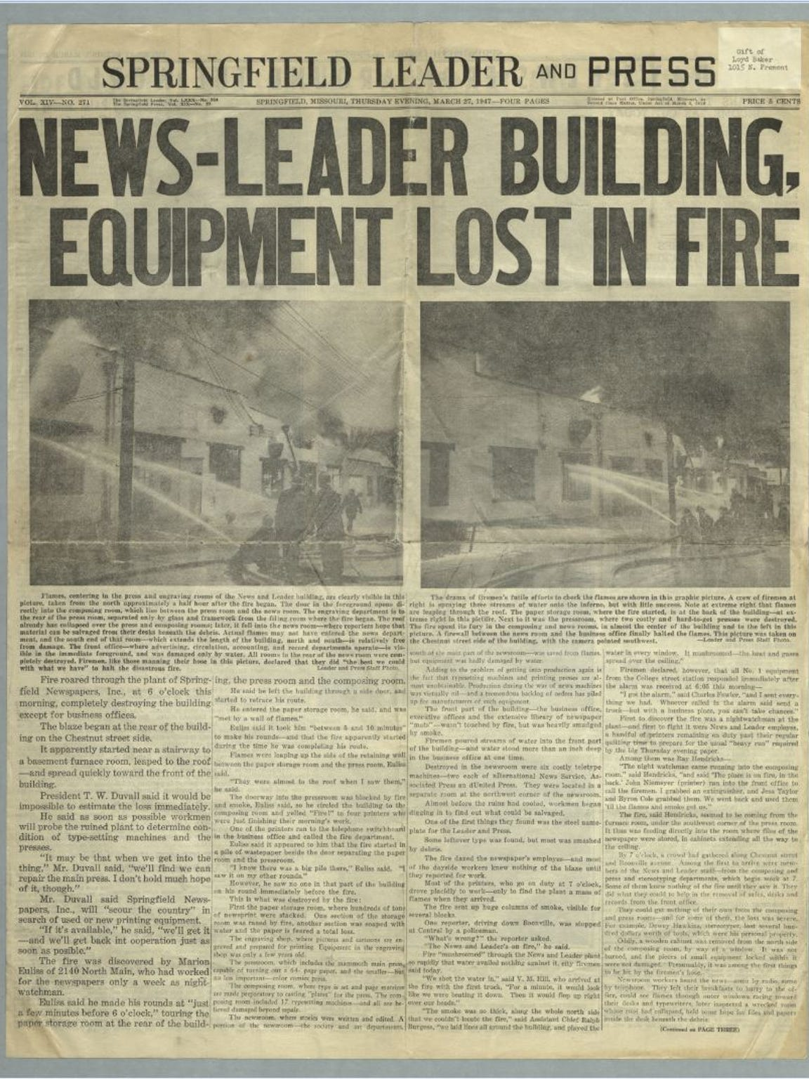 March 27, 1947 edition of the Leader and Press.