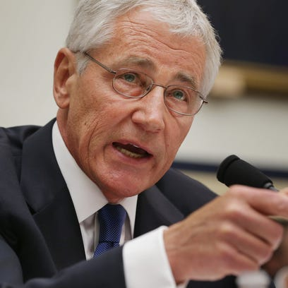 Defense Secretary Chuck Hagel testifies before the House Armed Services Committee about the about the prisoner exchange that freed Army Sgt. Bowe Bergdahl.