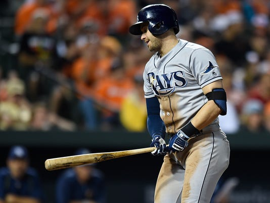 Tampa Bay Rays' Evan Longoria reacts after striking out against the Baltimore Orioles in the eighth inning of a baseball game, Friday, June 24, 2016, in Baltimore. (AP Photo/Gail Burton)'