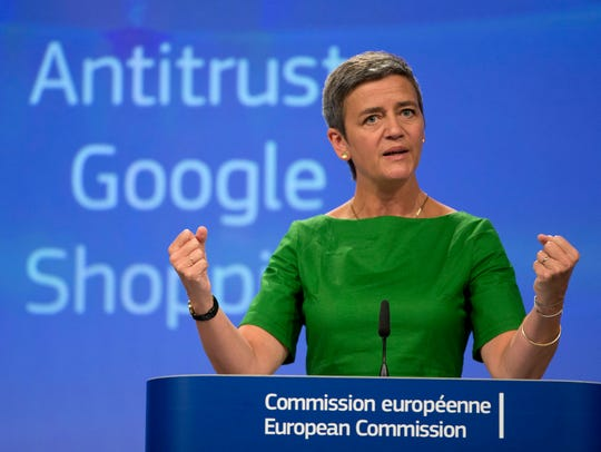 European Union Commissioner for Competition Margrethe Vestager speaks during a media conference at EU headquarters in Brussels in 2017. Since pioneering a new data privacy law, the EU has fined Google billions of dollars for what it considers unfair trade practices and for not disclosing to users how their data is used.